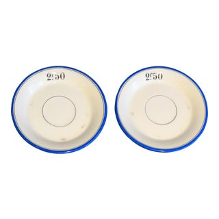 French Franc Bistro Cafe Tab Plates - A Pair