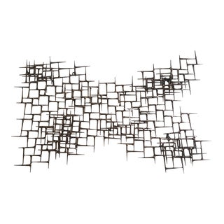 Abstract Metal Bronze & Mason Nails Wall Sculpture