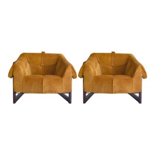 Percival Lafer Brazilian Rosewood & Suede Lounge Chairs - A Pair