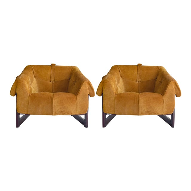 Percival Lafer Brazilian Rosewood & Suede Lounge Chairs - A Pair - Image 1 of 11