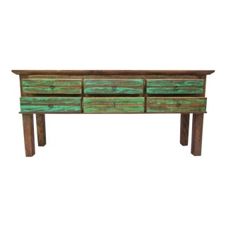 Vintage Antique Console Table Eco-Friendly Reclaimed Solid Wood