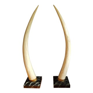 Maitland Smith Faux Elephant Tusks - A Pair