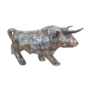 Vintage Mexican Mother of Pearl Bull