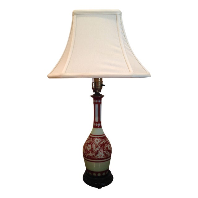 Image of Green & Red Glass Lamp Base w/Trumpeted Shade
