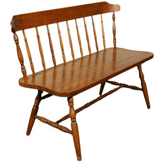 American Colonial-Style Windsor Bench