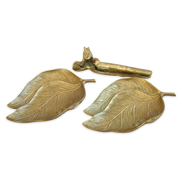 Image of 1950s Squirrel Nut Cracker & Leaf Trays - 3 Pieces