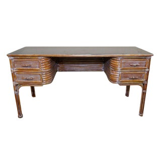 Glass Top Rattan Desk