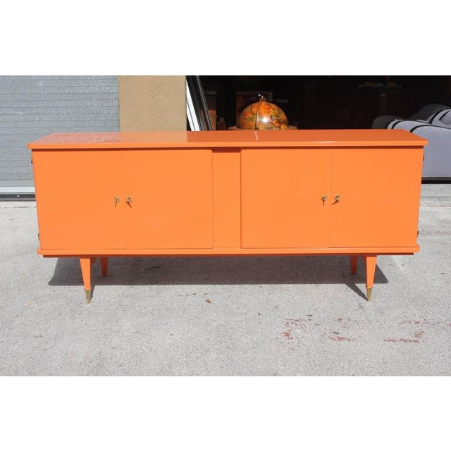 French art deco orange lacquered sideboard or buffet for Sideboard orange
