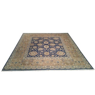 "10'x10'6"" Traditional Square Rug Handmade Knotted Fine Wool in Blue and Gold - Size Cat. 10x10 11x11"
