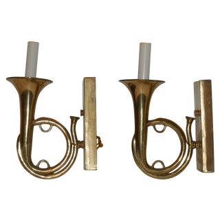 Brass Musical Wall Sconces - A Pair