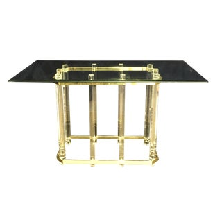 Hollywood Regency Lucite & Brass Console Table