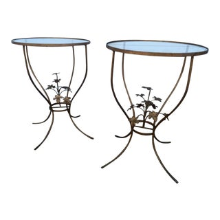Vintage Iron Leaf Tables - A Pair