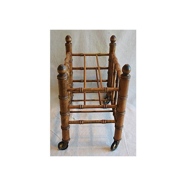 1920s Carved Wooden Bamboo-Style Magazine Rack Holder - Image 4 of 11