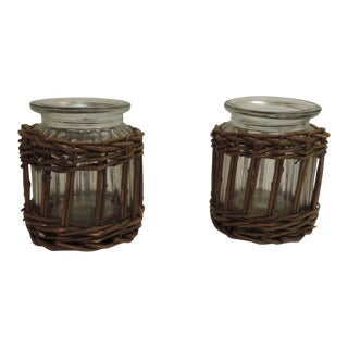 Pair of Vintage Willow Flower Vases