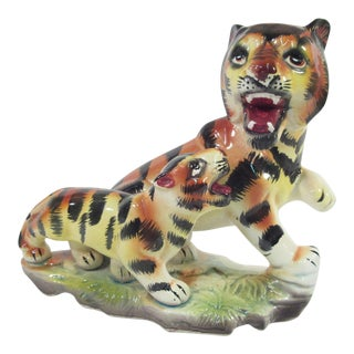 Vintage Japan Tiger and Cub Figurine