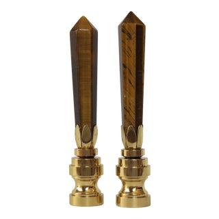 Tiger's Eye Obelisk Gemstone Finials - A Pair