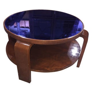 Mid-Century Modern Blue Glass Coffee Table