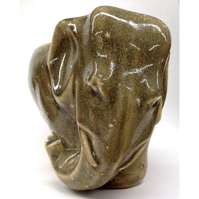Image of Mid-Century Brown Ceramic Elephant Planter