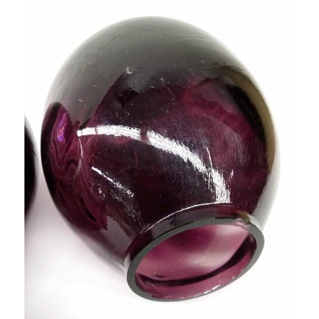 Twin Vintage Amethyst Glass Vases Heather Plum - 2 - Image 6 of 10