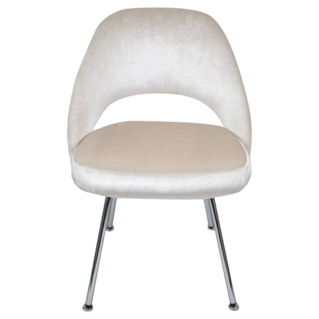 Saarinen Executive Armless Chairs in Ivory Velvet, Set of Six - Image 1 of 9