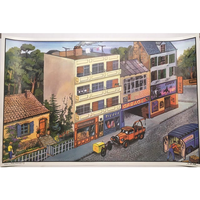 Vintage French School La Rue/La Cuisine Two-Sided Poster - Image 2 of 3