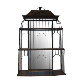 Bird Cage Mirrored Wall Art Shelf