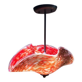 Art Glass Pendant Lamp, Red and Tan