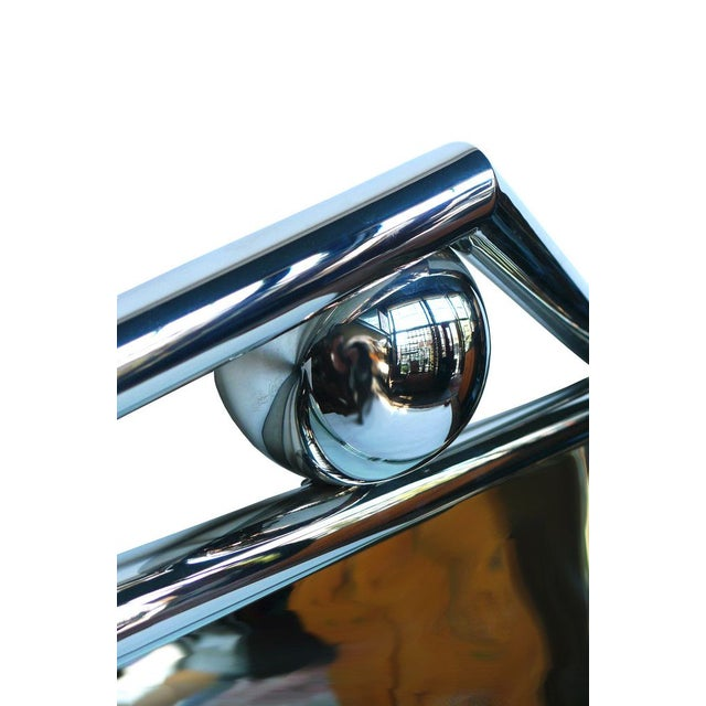 1980's Chrome Mirror With Pediment & Ball - Image 4 of 4