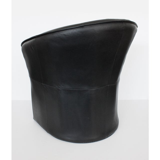 Modern Black Faux Leather Armchair - Image 8 of 10