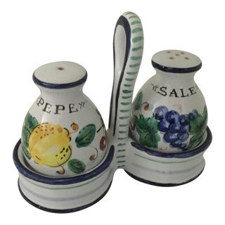 Italian Ceramic Salt & Pepper Set - A Pair