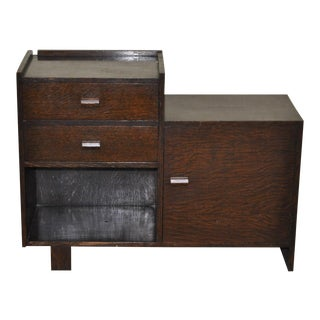 Circa 1930 English Art Deco Oak Bedside Cabinet