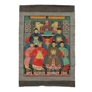 Chinese Vintage Canvas Color Ink Ancestors Paint Art