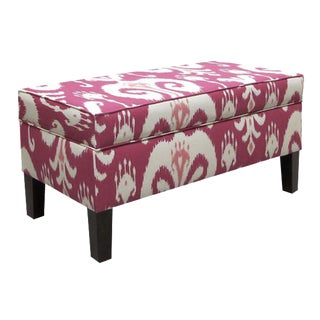 Pink Ikat Storage Bench