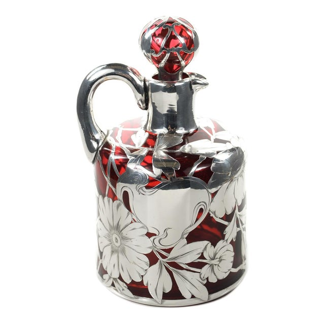 Antique Art Nouveau Silver Overlay Ruby Decanter - Image 5 of 9