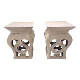 Vintage White Glazed Garden Seats - A Pair