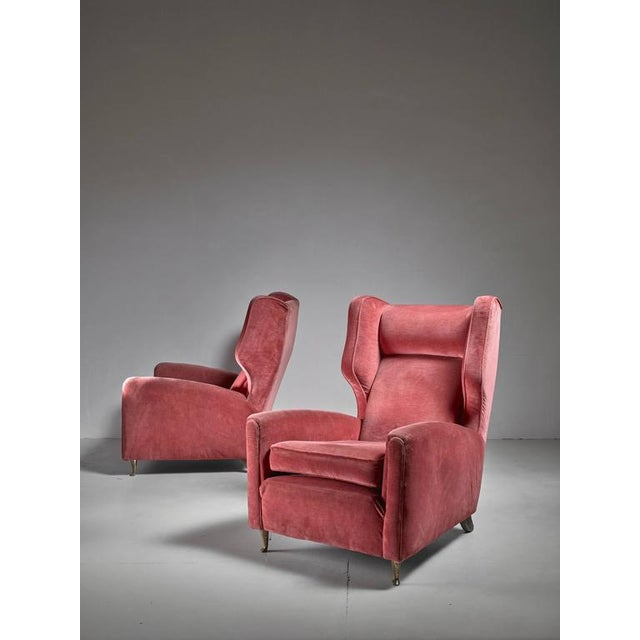 Paolo Buffa Pair of Soft Coral Red Wingback Lounge Chairs, Italy, 1940s - Image 2 of 6