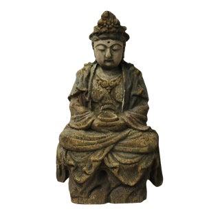 Chinese Rustic Wood Sitting Kwan Yin Statue