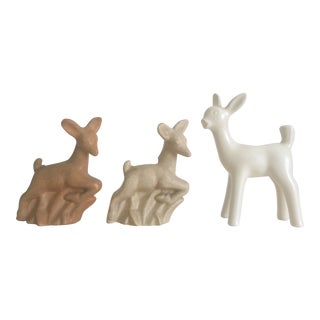1930's Art Deco Niloak Tan Cream White Art Pottery Deer Figurines - Set of 3