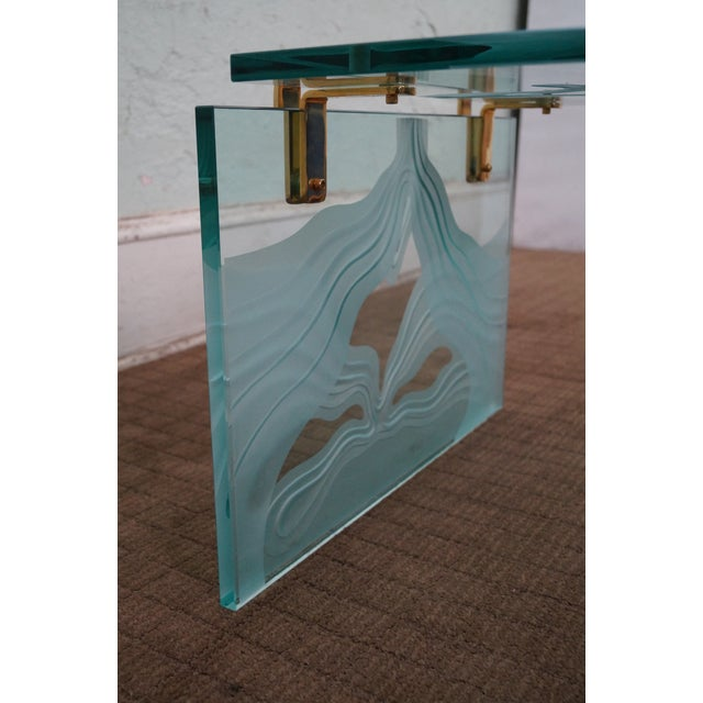 Custom Etched Glass Coffee Table - Image 7 of 10