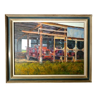 """Ben Abril """"Old Number 7 Fire Truck"""" Original California Oil Painting"""