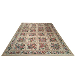 Modern Needlepoint Handmade Knotted Rug - 10′ × 14′