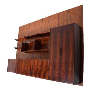 Danish Mid Century Modern Rosewood Wall Unit Four Panels