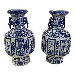 Asian Blue & White Jars - A Pair