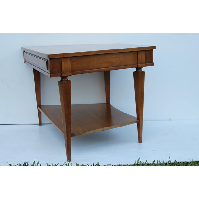 John Widdicomb Mid-Century Curved High End Walnut Accent Table - Image 6 of 11