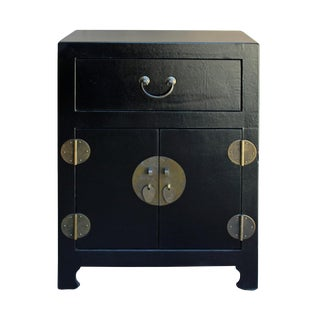 Chinese Black Vinyl Moon Face End Table Nightstand