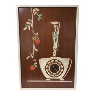 Mid-Century Modern Carved Wood Wall Clock