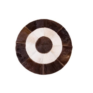 Handmade Cowhide Patchwork Area Round Rug - 5'1""