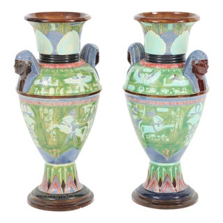 Pair of Egyptian Revival Ceramic Vases