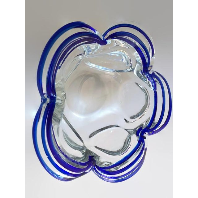 Vintage Murano Style Petal Bowl Blue Striped - Image 5 of 6