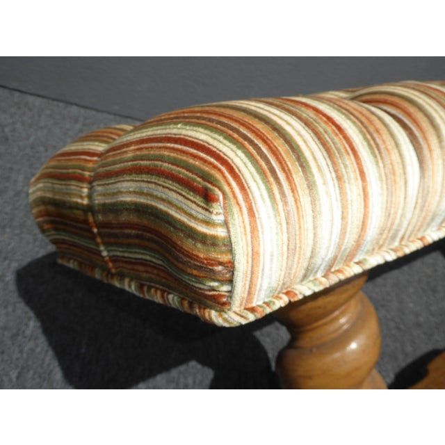 Vintage Mid-Century Tufted Stripped Bench - Image 10 of 10